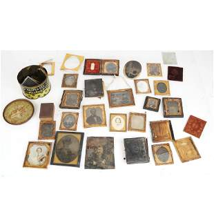 Lot of 19 Daguerreotypes, Pocket Watches, Others