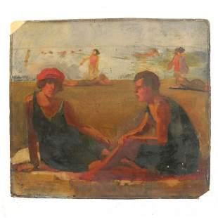 American School - Oil on Cardboard Painting