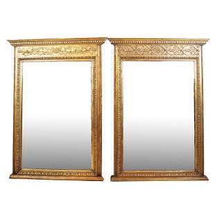 Matched Pair of Gilt Wood & Composition Mirrors