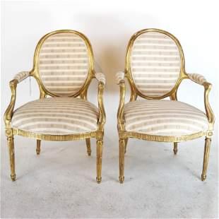 Pair Late 18th C. George III Gilt Wood Arm Chairs