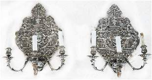 Pair 19th C. Regence-Style Silvered Sconces
