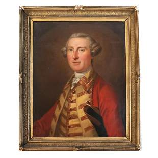 English 18th C. Portrait of an Officer - Painting