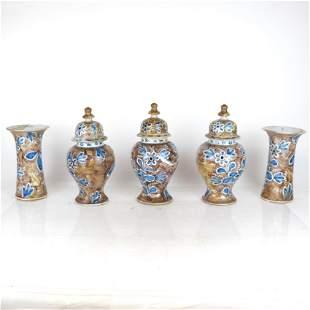 5-Piece Glazed Ceramic Table Garniture