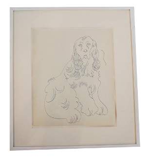 """Andy WARHOL: """"Dog"""" - Ballpoint on Paper, 1957"""