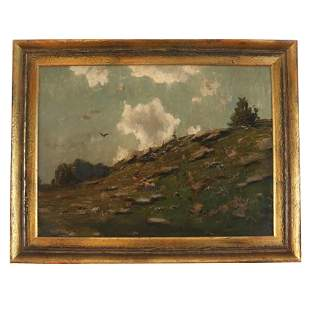 Oil on Canvas Painting of a Hill With Birds