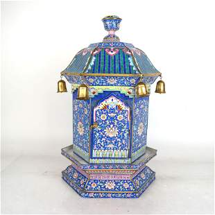 Chinese 18th C. Canton Enamel Hexagonal Lantern