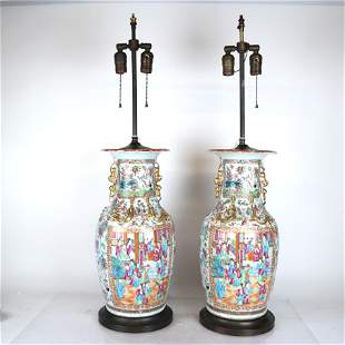 Pair Chinese Rose Medallion Porcelain Lamps