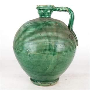 Vintage Glazed Ceramic Pitcher