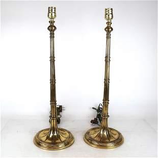 Pair Gilt Bronze Candlestick Lamps