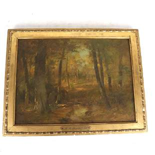 R.M. SHURTLEFF: Forest Scene - Oil Painting