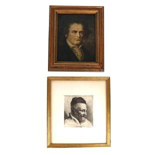 Portrait Lithograph and a Painting of Beethoven