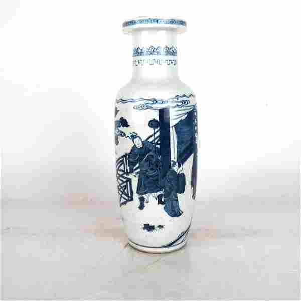 Blue and White Figure Subject Vase with KangXi Mar