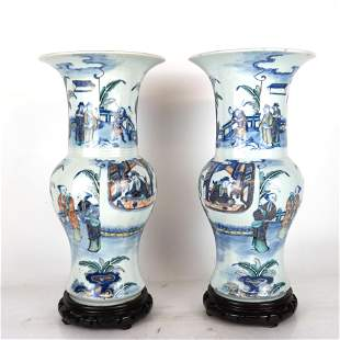 Pair of 18th C. Famille Verte YenYen Vases