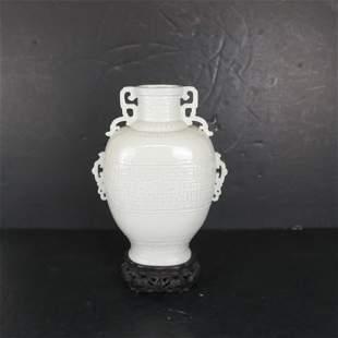 Chinese Glazed Ceramic Vase on Stand