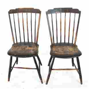 Pair American Step Back Windsor Side Chairs