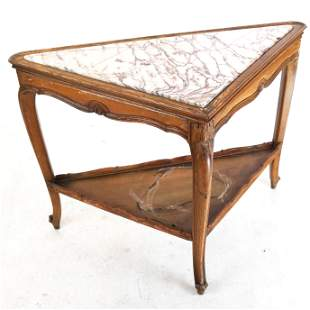French Marble Inset Walnut Corner Table