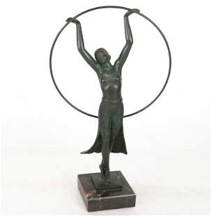 CHARLES: Bronze Art Deco Sculpture of Woman Dancer