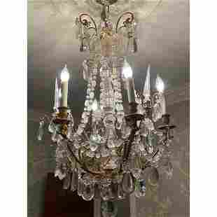 French Bronze & Baccarat Crystal Chandelier