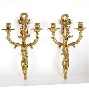 Pair 19th C. Bronze Dore Sconces