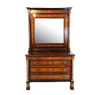 Italian Marquetry Chest and Mirror