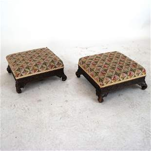 Pair Chippendale-Style Low Benches