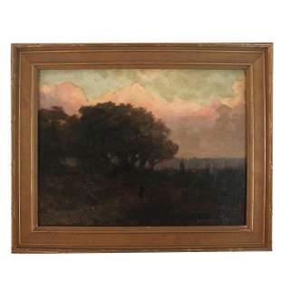 T.S. MORAN: Landscape at Sunset- Oil on Canvas