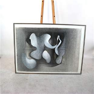 Abstract Charcoal Drawing in Gray & Black