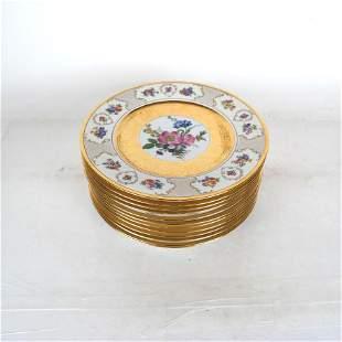 12 Royal China 22K Gilt Floral Motif Plates