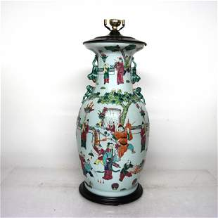 Chinese Late 19th C. Vase as Lamp Base
