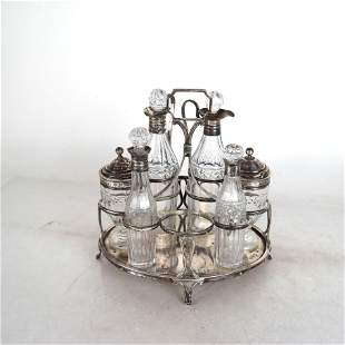 English Silver Condiment Set on Stand