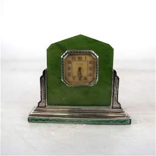 Sterling Silver & Jade Desk Clock