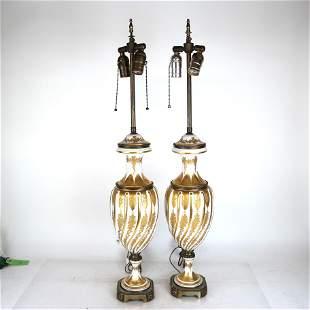 Pair of Sevres Porcelain & Bronze Lamps