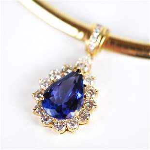 18K Gold, Tanzanite & Diamond Necklace