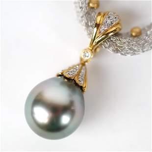 Italian 18K Mesh & Black Pearl Pendant