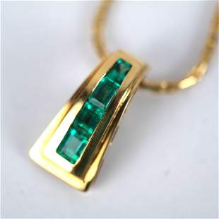 18K Gold & Emerald Pendant Necklace
