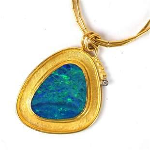 18K Gold, Diamond & Opal Necklace & Pendant