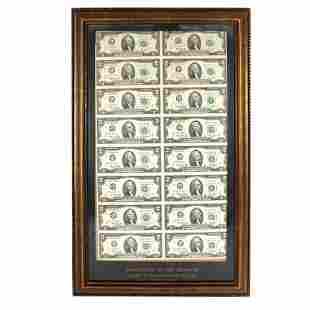 """Uncut Mint Sheet of 16 * (""""Star"""") $2 Bills"""