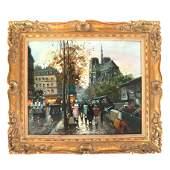 Louis DANCOURT: Paris Street - Oil Painting