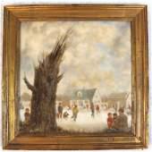 Robert Smullyan SLOAN: Winter Scene - Oil Painting