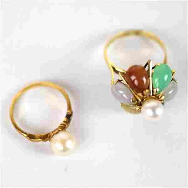 Two Gold & Pearl Rings: 14K & 9K