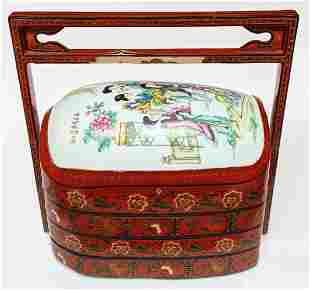 Chinese Lacquer & Porcelain Wedding Box