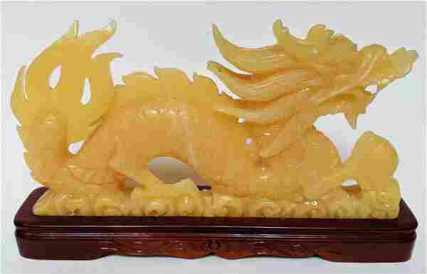 Chinese Carved Yellow Hardstone Dragon