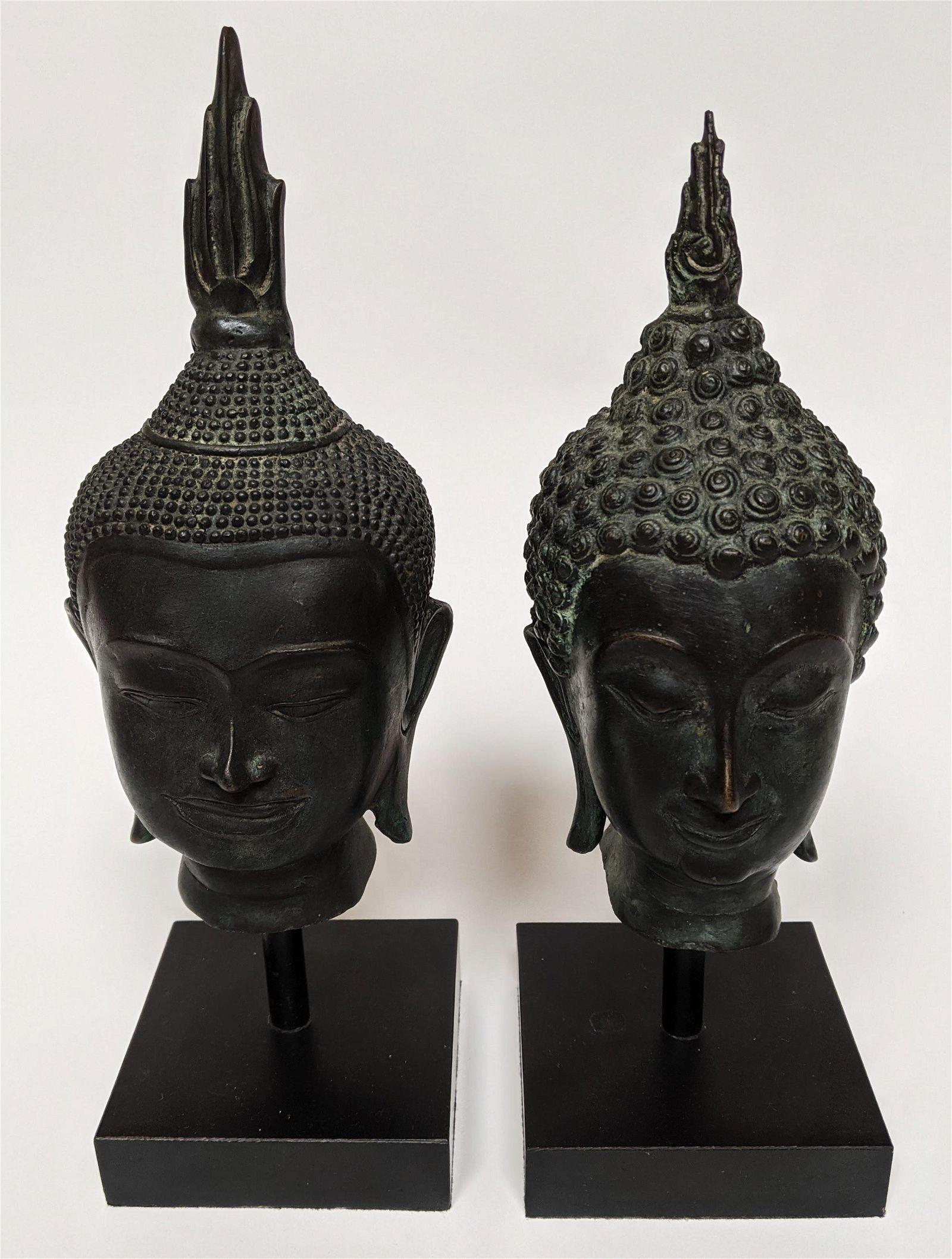Two Southeast Asian Bronze Buddha Heads