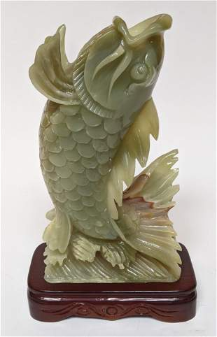 Chinese Carved Agate Koi Fish Sculpture