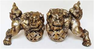 Pr Chinese Patinated Ceramic Foo Dogs