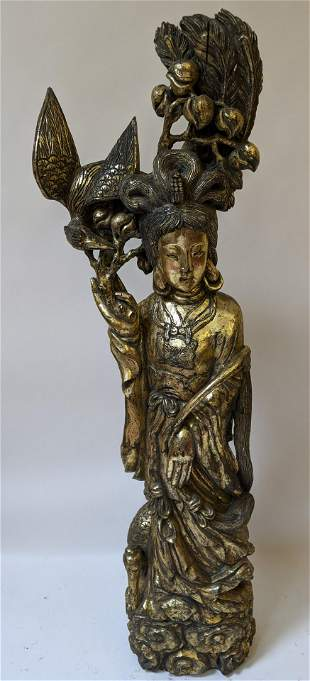 Chinese Carved Gilt Wood Guanyin Sculpture