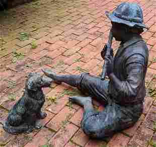 Bronze Sculpture of Boy with Flute & Dog