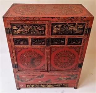 Antique Carved Two-Door Wedding Cabinet
