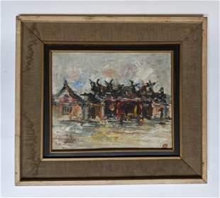 Village Scene - Oil on Canvas Painting