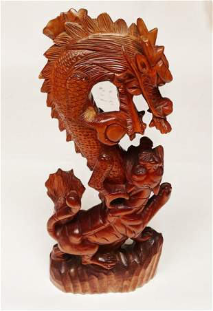Asian Carved Wood Dragon and Lion Sculpture